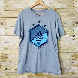 Adidas Mens Soccer Graphic T-shirt Grey Blue Large